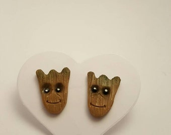 Groot Head Stud Earrings - Guardians of the Galaxy - Handmade Polymer Clay