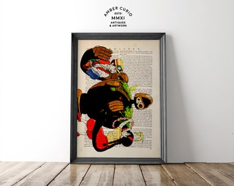 Laputa Castle in the Sky Original Studio Ghibli Inspired Poster Print on an Unframed Upcycled Bookpage
