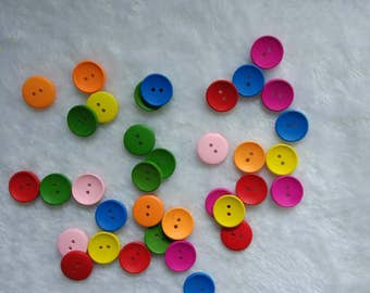 30 PC Painted wood buttons 20mm/15mm/10mm - Wooden Buttons ,tree buttons, natural wood buttons