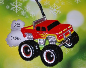 Red Monster Truck Personalized Christmas Ornament