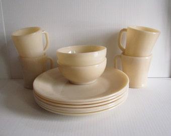 Vintage Fire King Ivory Plates Bowls Flat Bottom Mugs Oven Glass