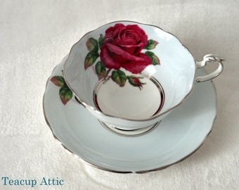 Paragon Pale Blue Teacup Set With Large Red Rose And Platinum Trim Signed By The Artist Reg Johnson, Bone China Tea Cup Set, ca. 1952-1960