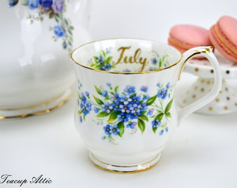 Royal Albert Flowers of the Month July Mug, Vintage English Bone China Mug, Birthday Gift,  ca. 1970