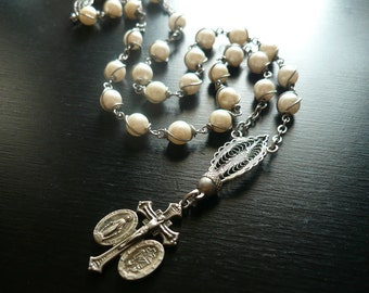 Vintage Crucifix Cross Necklace - Glass Pearl Necklace - Rosary Necklace - Mary Miraculous Medal 1930s