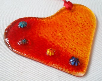 Love Heart Sun Catcher, handmade in fused glass in Ireland