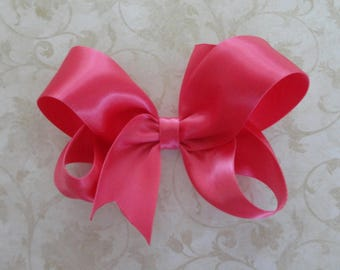 Shocking Pink Satin Twisted Boutique Bow  4 inch Easter Bow - Shocking Pink Satin Bow  Baby HairBow - Girls Satin HairBow