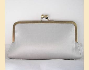 Wedding clutch bag, silver silk, handmade bridal purse, bridesmaids clutch, bridesmaids gift, personalisation