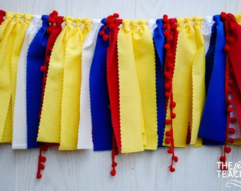 Snow White Fabric Bunting - FREE Shipping - Snow White Fabric Garland - Snow White Garland - Snow White Bunting - Snow White Banner