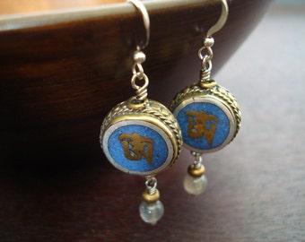 Women's Lapis Tibetan Om Earrings // Jewelry, Women's Jewelry, Yoga Jewelry, Earrings