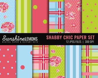 Shabby Chic Bright Digital Scrapbooking Paper - COMMERCIAL USE Read Terms Below