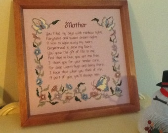 EVERY Day is Mother's Day! Framed Handmade Counted Cross Stitch MOTHER POEM Great Gift