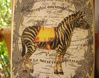 Victorian zoo animals,zebra, Paris,typography, shabby chic image on wooden tag, vintage style dresser, door hanger.