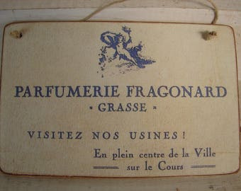 French Parfumerie, vintage shop advertisement image sealed onto wooden tag ready to hang