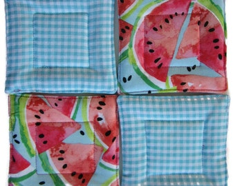 Quilted Coaster Set, Watermelon Coaster Set, Drink Coasters, Beverage Coasters, Hostess Gift, Wedding Gift