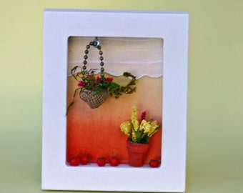 Little window diorama, shadow box, summer white window, picture frame, tomatoes, plants, sunset, orange, red, clay, acorn top, window sill
