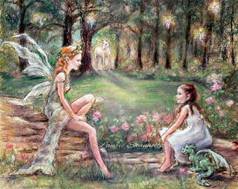 "Unicorn, Dragon, Fairies, Pixies, Child art, ""Fantasy Found"" Laurie Shanholtzer  Canvas or Cotton art paper prints of original painting,"