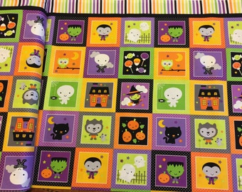 Glow in the dark Ghouls and Goodies Panel Halloween fabric by Riley Blake