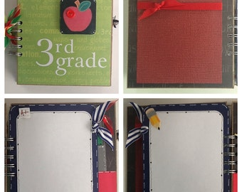 3rd Grade Elementary School Pre Made Chipboard Scrapbook Album * Just Add Photos *