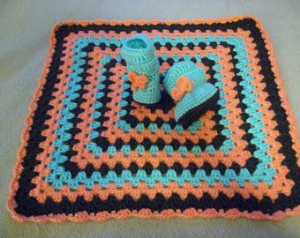 Crocheted,Peach,Turquoise,Brown,Slouchy, Booties,Lovey,Cover,Gift, Shower,Girls,6-12 Months,Photos,Bow