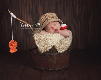 Newborn knit fishing set hat diaper and fish ready to ship Photography Prop RTS