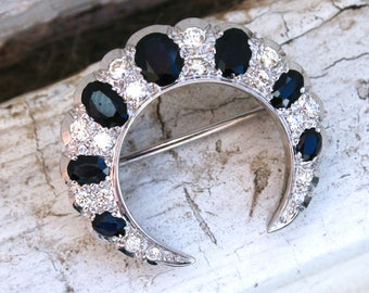 Vintage Sapphire and Diamond 18K White Gold Crescent Pin - 3.64ct.