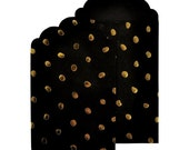 CLEARANCE SALE Black with Gold Dots Paper Gift Envelopes Set of 6 - 3.5 x 5.25 Inches by Lucky Dip - Embellish as Desired