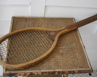 Vintage wooden tennis racket, Geneva wooden tennis racket, old Spalding tennis racket