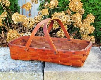 Antique split oak basket, trug with double bentwood handles, gathering basket, primitive basket