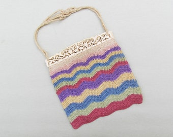 Vintage purse with carved bone frame, crocheted multi color purse, 1930's small crocheted purse