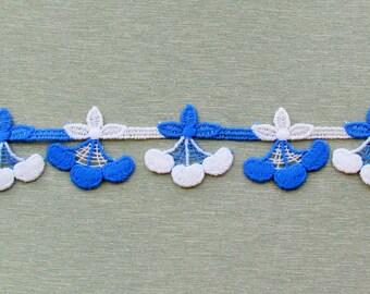 Vintage blue and white cherries trim, apparel trim, home decorating trim