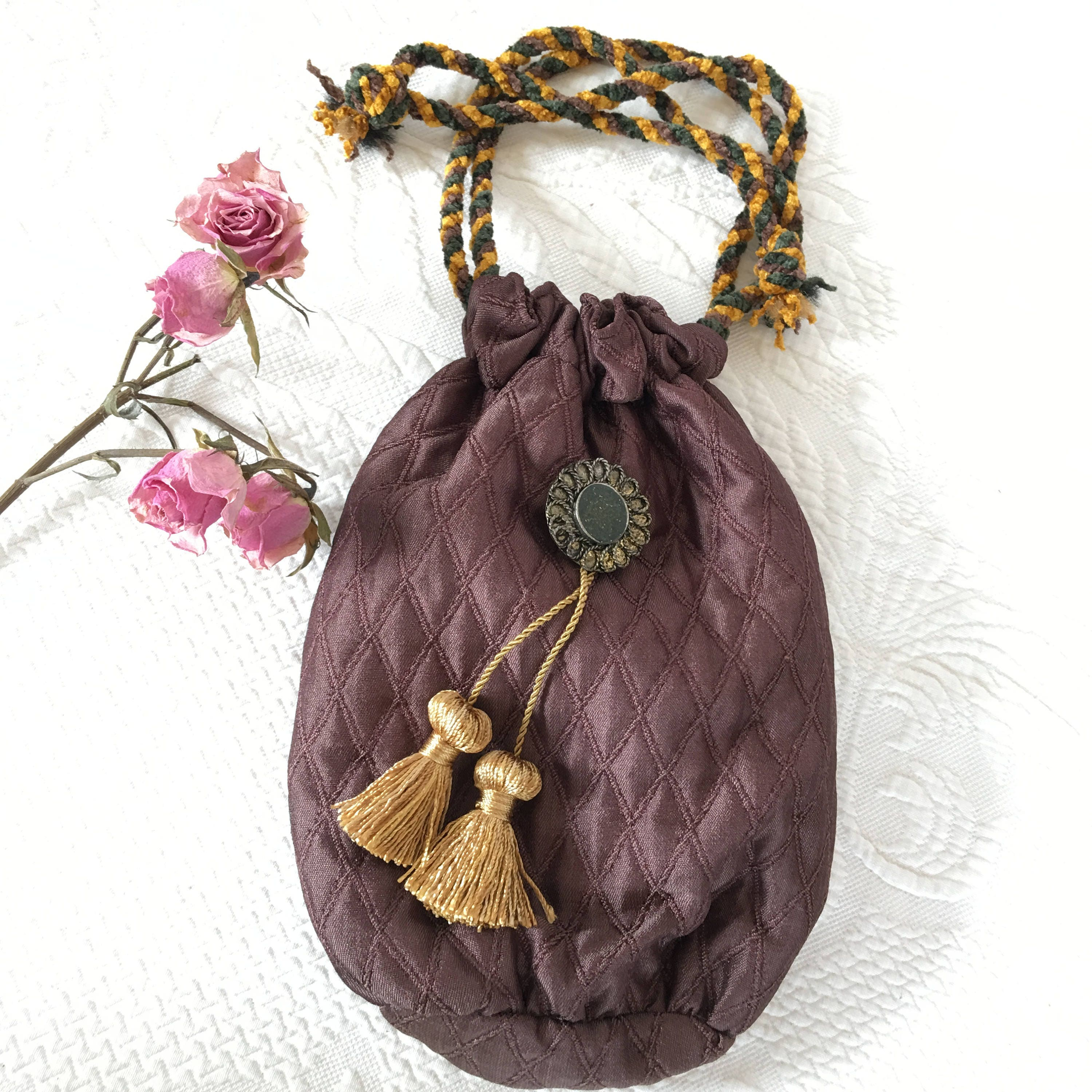 672e40b0c1bf Handmade Brown Diamond Quilted Drawstring Purse. Decorative Button and Gold  Tassels Decoration. Brown Silk