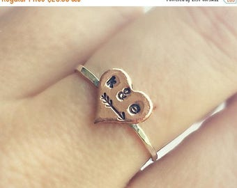 SUMMER SALE custom heart initial ring sterling silver, customizable ring, arrow ring, heart ring, vanentines jewelry, couples ring, promise