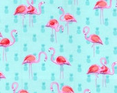 Snuggle Flannel Fabric - Flamingos on Pineapple - Sold by the Yard