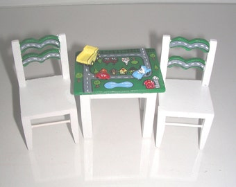 Play Table & 2 Chairs Town TRAFFIC MAP with ROADS, 3 Vehicles Included 1:12 Dollhouse Miniature Furniture Hand-Painted Child Baby Boy