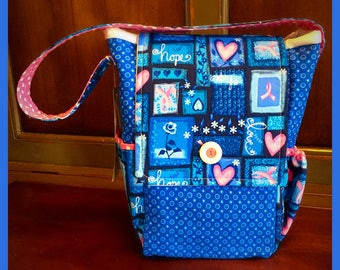Breast Cancer Lunch Tote Bag Sack Snacks Insulated Washable Blue Pink Support Fight
