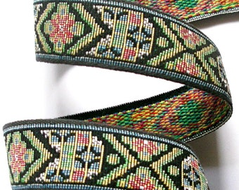 """Woven Ribbon-1"""" x 2 yards - Tapestry Blue, Black and Green"""