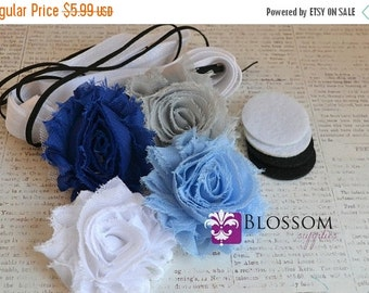 HOLIDAY SALE DIY Headband Making Kit - Winter Collection - Chiffon Frayed Flowers - Shabby Rose Trim - Flower Headbands - Blue White Silver