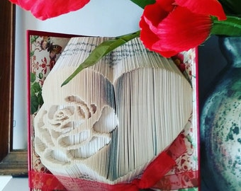 Valentine Heart with Rose Folded Book Art, Ready to Ship, Valentines Day Gift