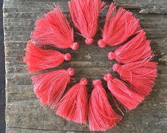 "Madras Coral Pink 1"" Cotton Tassels - Set of 10 - Mala Bracelet Gypsy Yoga Jewelry Love"