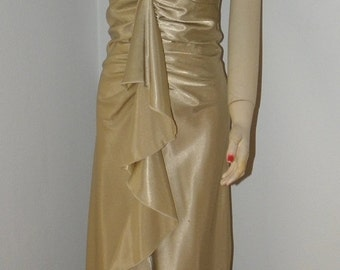 40% OFF Vintage Rampage Gold Satin Mermaid Ruffle Dress,1980's, Bias Cut, Ruched, Wiggle, Pin-up, Liquid Gold