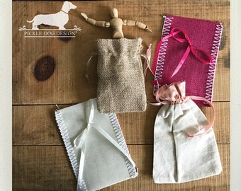 CLEARANCE! Set of 6 Bags -- (Vintage-Style, Burlap, Muslin, Boho Chic, Rustic Chic, Bridal Shower, Gift Wrap, Wedding Gift Bag, Party Favor)