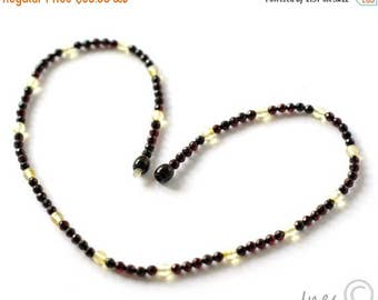 CHRISTMAS SALE Baltic Amber Faceted Multicolor Necklace. Tiny Faceted Round Amber Beads