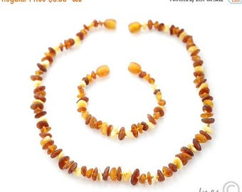 15% OFF Raw Unpolished Multi Color Baltic Amber Baby Teething Necklace and Bracelet/Anklet