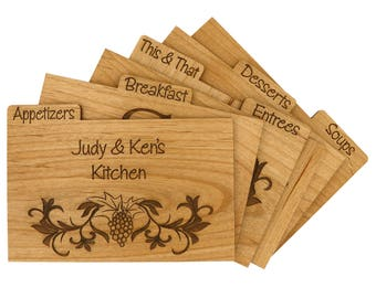 LGU(TM) Custom Made Wood Recipe Card Dividers with Tab