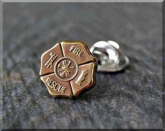 Brass Fire Department Shield Tie Tac, Lapel Pin, Fire Fighter Brooch, Gift for Him, Gift Under 10 Dollars, Tie Tack, Fire Rescue Unisex Pin