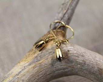 Golden Lily, gold plated earrings, flower, minimalist, dangle earrings, gifts to girls