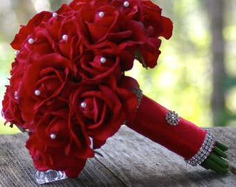 Real Touch RED Rose Wedding Bouquet Simplicity