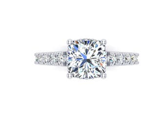 Cushion moissanite 7mm and diamonds engagement ring,style 187WDM