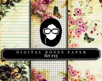 Rose Paper Digital - Set #13 - 3 Pg Instant Downloads - digital rose paper, digital roses paper, floral digital paper, digital paper pack