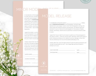 Model Release Template - Minor Model Release Template - Model Release Form - Photography Contract - Photoshop Template - Photographer Forms